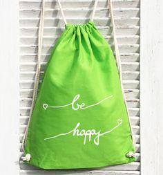 be happy Turnbeutel - Schönes für zu Hause von crownprintcess auf DaWanda.com