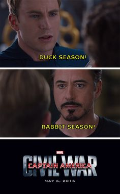 captain-america-civil-war-memes-duck-season-rabbit-season. you have to be a certain age to get this reference lol.