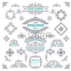 Set of Vintage Vector Line Art Calligraphic Elements . Decorative Dividers, Borders, Swirls, Scrolls, Monograms and Frames.