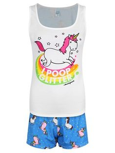 Snuggle up in this adorable pyjama set from David & Goliath featuring a colourful, prancing unicorn with the caption 'I Poop Glitter'. Including a repeated unicorn and stars print on the shorts and the back of the vest, this is a must have for any fan of this mythical creature!
