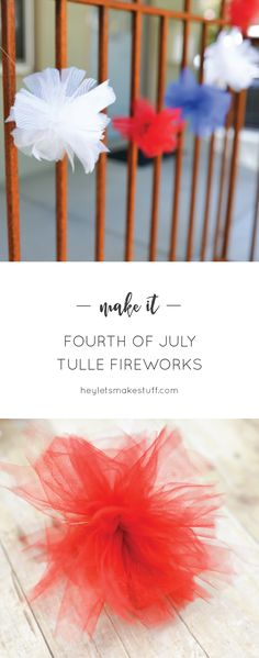 Add a festive pop to your patriotic parties with these tulle fireworks! Perfect for the Fourth of July and Memorial Day. Holiday Fun, Christmas Diy, Festive, Holiday Ideas, Holiday Decor, Tulle Crafts, Diy Crafts, Memorial Day, Independence Day Wallpaper