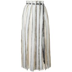 Proenza Schouler frayed stripe wrap skirt (1,345 CAD) ❤ liked on Polyvore featuring skirts, white, wrap skirt, striped skirt, stripe skirts, print skirt and straight skirts