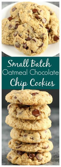 These Small Batch Oatmeal Chocolate Chip Cookies are easy to make, only require one bowl, and ready in about 30 minutes! These Small Batch Oatmeal Chocolate Chip Cookies are easy to make, only require one bowl, and ready in about 30 minutes! Oatmeal Chocolate Chip Cookie Recipe, Homemade Chocolate Chips, Oatmeal Cookie Recipes, Chocolate Chip Recipes, Easy Cookie Recipes, Baking Recipes, Simple Oatmeal Cookie Recipe, Simple Chocolate Chip Cookies, Homemade Oatmeal