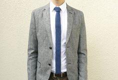 Denim Blue Knit Tie in Luxury British Lambswool MADE TO ORDER