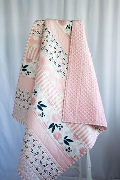 Pink and Navy Quilt, Baby Shower Gift Girl, Baby Quilts Handmade, Floral Baby Flowers . Quilt Baby, Baby Girl Crochet Blanket, Quilted Baby Blanket, Baby Quilt Patterns, Baby Girl Bedding, Baby Girl Quilts, Baby Girl Blankets, Girls Quilts, Pink Quilts