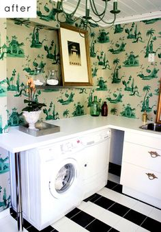 Pinning only to remember to add a chandelier to my laundry room and perhaps wallpaper! Make it gorgeous