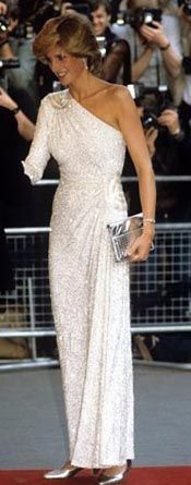Designed by Hachi. One shoulder white gown embroidered with translucent glass beads and crystals.  Diana wore this beaded gown to a screening of Octopussy in 1983  also in Washington in 1984 and a state visit to Japan. $75,100.00 Purchased by You magazine