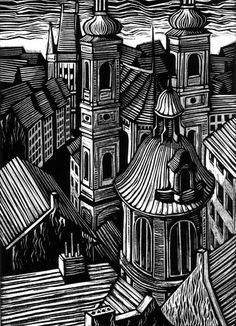 Great line work-city/town/village drawing-Walpurgisnacht by Vladimir Zimakov, via Behance Maybe a scratchboard idea? Lino Art, Woodcut Art, Linocut Prints, Art Prints, Block Prints, Village Drawing, Town Drawing, Linoprint, Art Et Illustration