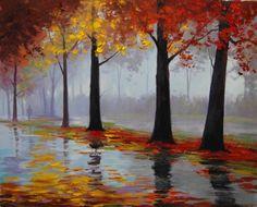 Autumn Rain - forest, golden, rain, autumn - z
