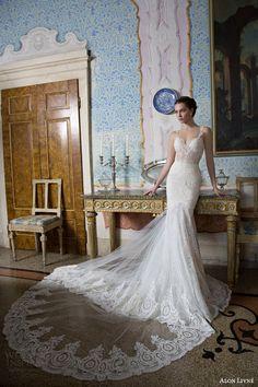 alon livne white bridal 2015 poly wedding dress heart shaped illusion front view lace train