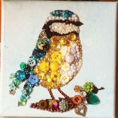 Bead and button art bird - art by Always Sparkle Gifts, via Facebook  (6/14/16)