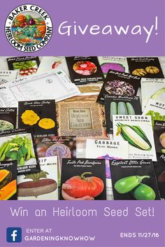 This weekend (Friday 11/25 through Sunday 11/27) we are giving away an Heirloom Seed Set from @bakercreekseed! This set contains 25 full-sized packets of seeds and a Clyde's Garden Planner—all packaged in a sturdy, resealable, mylar bag for long lasting storage. Varieties in this package are chosen to be productive in most climates throughout the United States.