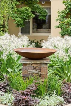 Image result for corner flower bed with bird bath