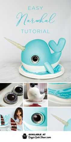 Narwhal Cake Tutorial (EASY) + Video Tutorial Learn how to make a simple narwhal cake with shiny sugar horn, glitter eyes and chocolate water effect. Dive into cake decorating with this fun tutorial! Cake Decorating Company, Cake Decorating Designs, Cake Decorating For Beginners, Creative Cake Decorating, Cake Decorating Techniques, Creative Cakes, Decorating Tips, Easy Cake Designs, Cake Decorating With Fondant