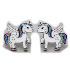 Cute Pegasus colorful earring stud, cheap fashion earring shop at : http://costwe.com/animal-earrings-c-50_100.html