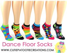 Dance Floor Party Socks - Neon Pattern Bar and Bat Mitzvah Socks, Sweet 16, Quinceanera, 15th Birthday Party - Disco Dance Party Socks by Cutie Patootie Creations