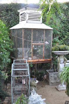 A wonderful bird cage filled with doves at Rue de Lillie in Summerland.