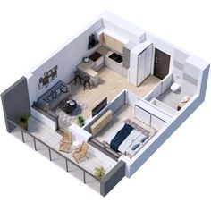 Small Apartment Plans, Studio Apartment Floor Plans, Small Apartment Design, Apartment Layout, Sims House Plans, House Layout Plans, Small House Plans, House Floor Plans, House Floor Design