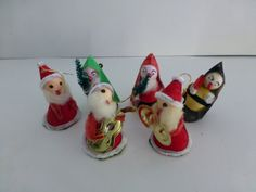 Vintage Santa Band and Friends, Musicians and Carollers -- 1960s, 2.5 Inches Tall, Paper and Spun Cotton, Big Red Noses, Christmas Decor