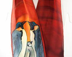 """Penguin Silk Scarf. Rust silk scarf. 8""""x50"""" crepe silk scarf. Free gift wrap. Handmade silk scarf Handpainted silk scarves OOAK. penguin art"""