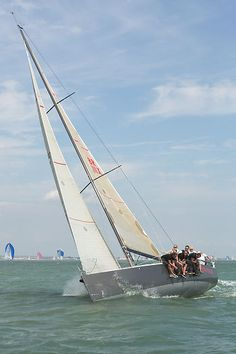 The J/111 yacht 'Jitterbug' racing in the Solent during Cowes Week 2013.