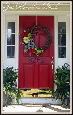 Weeks Sunday Showcase Features & Lucy Doo / KidSwitch Winners just [ainted my front door to look like this! Now, for this wreath!just [ainted my front door to look like this! Now, for this wreath! Front Door Colors, Front Door Decor, Wreaths For Front Door, Door Wreaths, Front Porch, Black Shutters, Window Shutters, Painted Front Doors, House Numbers