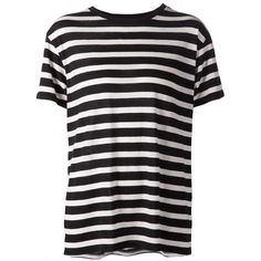 R13 horizontal stripe T-shirt (730 PLN) ❤ liked on Polyvore featuring tops, t-shirts, black and horizontal striped t shirt