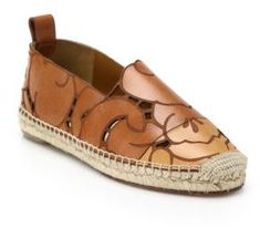 Chlo Laser-Cut Leather Flower Espadrille Flats