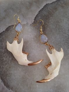 From precious opal drops hang a pair of authentic muskrat jaws with gold coated teeth Weird Jewelry, Bone Jewelry, Unique Jewelry, Piercings, Jewelry Accessories, Jewelry Design, Accesorios Casual, Schmuck Design, Custom Jewelry