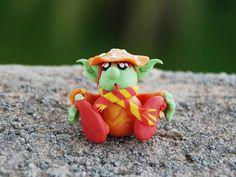 Fantasy figurine, Elf figurine, cute creature, fairy garden miniature, toadstool elf figure, OOAK polymer clay whimsical gnome mushroom