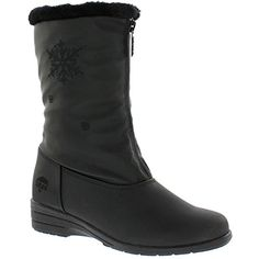 Women's Nicole Black Snow Boot | Waterproof Mid Calf Soft Sole Front Zipper Closure Boot Size - 9 US W *** Want additional info? Click on the image. (This is an affiliate link and I receive a commission for the sales) #Outdoor