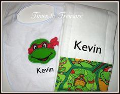 Ninja Turtle Burp Cloth Baby Gift Bib Baby by timestotreasure #craftshout 021915