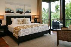 dark wood / green  bedroom