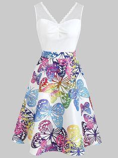 f77b96b215 Butterflies Printed High Waist Sleeveless Dress