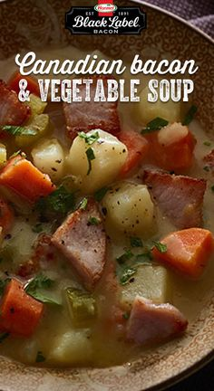 Creamy Canadian Bacon and Vegetable Soup Canadian Dishes, Canadian Cuisine, Canadian Food, Canadian Recipes, Recipe With Canadian Bacon, Bacon Recipes, Soup Recipes, Cooking Recipes, Healthy Recipes