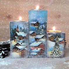 Купить Набор подсвечников Зимняя деревня в интернет магазине на Ярмарке Мастеров