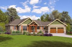 House Plan 81223 - Craftsman, Ranch Style House Plan with 1953 Sq Ft, 3 Bed, 3 Bath, 2 Car Garage Craftsman Ranch, Craftsman Style House Plans, Ranch House Plans, Bedroom House Plans, Craftsman Houses, Craftsman Interior, Tudor Style Homes, Ranch Style Homes, Master Suite