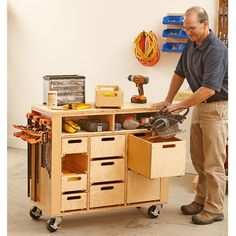 Wheel-easy Shop in a Box Woodworking Plan, Workshop & Jigs Shop Cabinets, Storage, & Organizers Workshop & Jigs Workbenches bench design furniture jigs techniques Woodworking For Kids, Woodworking Workshop, Woodworking Bench, Woodworking Shop, Woodworking Crafts, Woodworking Patterns, Woodworking Equipment, Woodworking Magazines, Woodworking Square