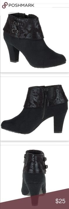 """NEW Soft Style by Hush Puppies Creel Boots Size 6 Size 6; color black faux suede;                        Add a pop of prints to your footwear wardrobe with this faux suede ankle boot or go for a classic look in all-over smooth Vitello. A chic cuff defines this heeled style—built with our SoftDelight™ technology for all-day comfort and superior shock absorption. • Double buckle ankle bootie with collar • SoftDelight™ Comfort System • 21/8"""" heel Hush Puppies Shoes Ankle Boots & Booties"""