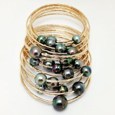 SPECIAL Tahitian Pearl Bangle 14kt Gold Filled 12 by MishaHawaii, $95.00
