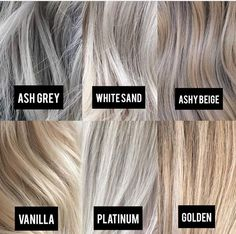 Blonde Color Tone Chart - All For Hair Color Balayage Gray Hair Highlights, Platinum Highlights, Heavy Highlights, Brown Blonde Hair, Toner For Blonde Hair, Grey Blonde Hair Color, Cool Toned Blonde Hair, Toning Blonde Hair, Hair Color Blondes