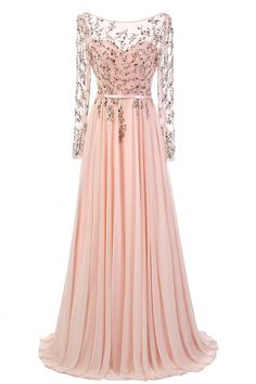 Elegant A-Line Boat Neck Long Sleeves Beading Pink Chiffon Evening Party  Dress. Cheap Party DressesCheap Evening DressesDress PartyFlower Girl ... f75d2510672f