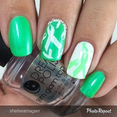 "by @shelseamagan ""Had to show my #lymediseaseawareness support! This beautiful green is ""Grace"" from @dailyhuesnaillacquer and has a gorgeous blue shift to it. IT STAMPS! I stamped using @bundlemonster BM315 and topped with @mydreampolish gem glam top coat. More pics of this beauty and the rest of the shifty neons collection coming."" via @PhotoRepost_app"