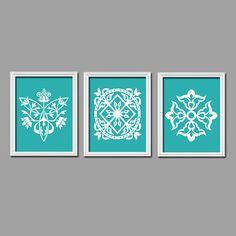 Turquoise White Ornament Design Artwork Set of 3 Trio Prints Bedroom Kitchen Bathroom WALL Decor Abstract ART Picture Bedroom Bathroom on Etsy, $25.00