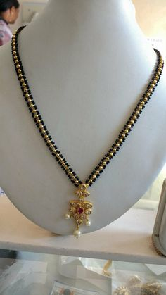 Bridal Jewelry Black 18 Ideas For 2019 Gold Mangalsutra Designs, Gold Earrings Designs, Gold Jewellery Design, Bead Jewellery, Necklace Designs, Gold Jewelry, Latest Jewellery, Beaded Jewelry, Gold Necklace Simple