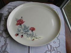 "Lenore Sloan China Classic Rose Oval Platter 12"" Mid Century USA Exc Cond #sloanechinalenore"