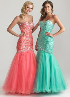 Night Moves 6726 - Coral, Apple Green Strapless Mermaid Evening Gown - Prom Dresses 2013 - RissyRoos.com