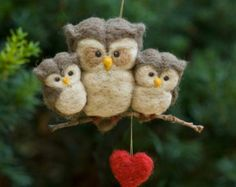 Naald vilten Owl Ornament - familie van drie