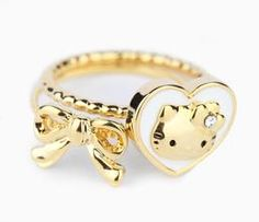 Hello Kitty 2-Pce Ring Set: Big Heart - Size 5