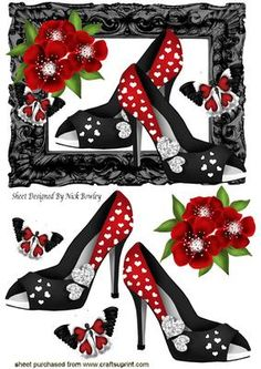 Pretty red and black heart shoes with butterflies on Craftsuprint - Add To Basket!